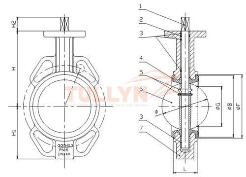 Al Bronze Wafer type marine butterfly valve drawing1
