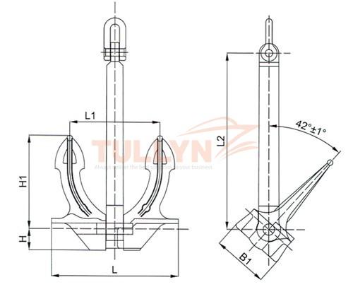 JIS Stockless Anchor drawing